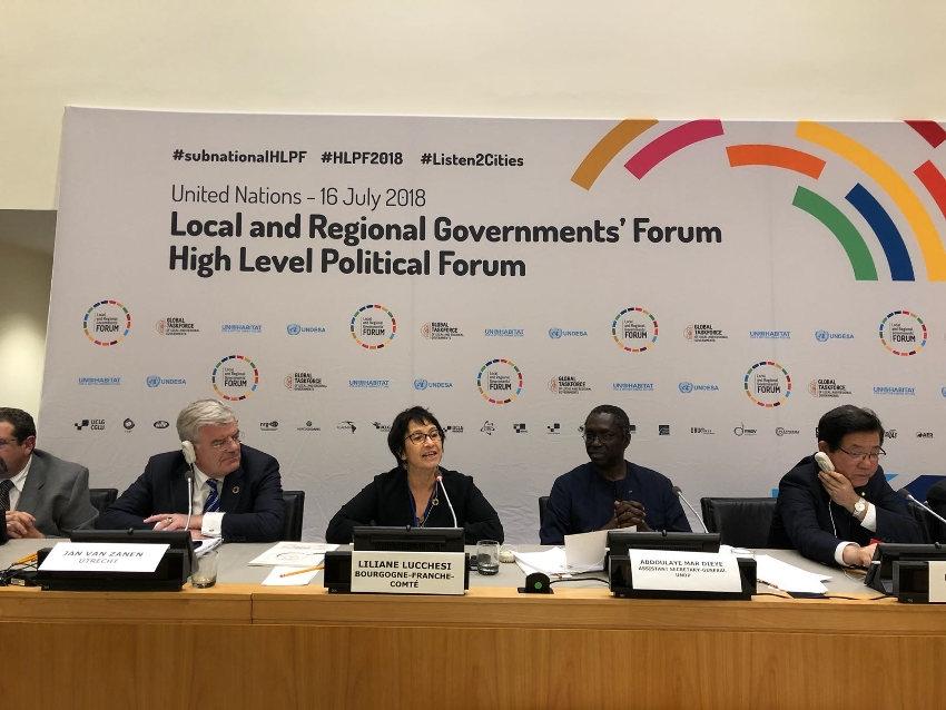 Une élue de la région Bourgogne Franche-Comté s'exprime dans un forum politique de l'ONU à New-York…